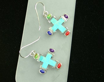 Vintage Sterling cross earrings turquoise, lapis coral, amethyst  peridot  silver - pierced hook