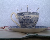 SALE ITEM. Blue and white pincushion cup and saucer