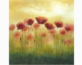 "Watercolor - ""Field of Poppies"" - Original Painting - Red Flowers Watercolor 15.7"" x 15.7"""