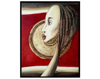 Small Painting, Woman Portrait Painting, Original Mixed Media Red Painting, Tribal Art on Canvas, African Girl, Profile View, Ethnic Style