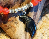 Lovely MOON shaped carved natural BLACK ONYX pendant - necklace and earring set featuring agate and cats eye beads