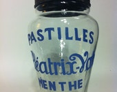 French Candy Jar, Vintage Blue, Glass
