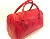 Cherry Red Leather Speedy Bag 1980s Satchel