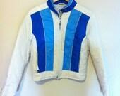 70s Retro Ski Jacket Medium - Cobalt and Sky Blue Stripes