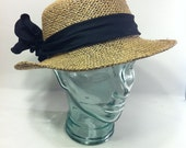 Vintage Straw Hat With Black Ribbon Bow - Wide Brim Sailor Hat