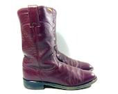 Burgundy Leather Justin Roper Cowboy Boots 7