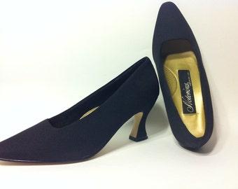 Black Rockabilly Pumps, Vintage Black Heels, Women's Size 7