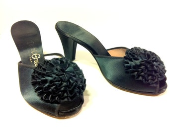 Black Satin Slipper Pumps 7, Daniel Green 1960s Backless Bedroom Slippers with Poof
