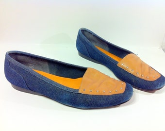 Denim Leather Studded Flats 9 - Tan Leather Blue Jean Flats 9 - Slip on Loafers 9
