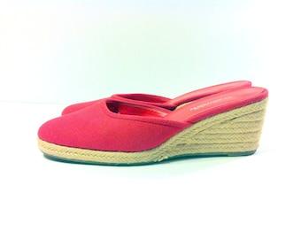 Red Canvas Espadrille Sandals 7 - Slip On Hemp Wedge Heels 7