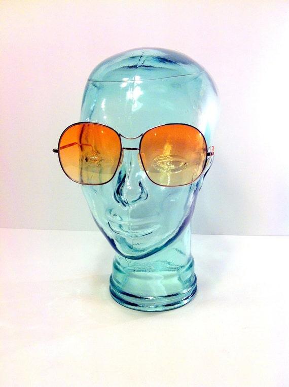 Oversized 70s Sunglasses - Huge Swanky Amber Sunglasses