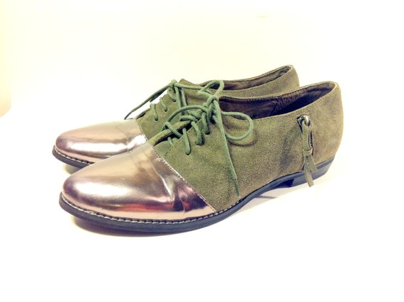 Avacado Leather Silver Metallic Two Toned Oxfords 8