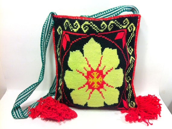 Black Woven Floral Folk Cross Body Bag with Red Poms - Woven Guatemalan Ethnic Purse