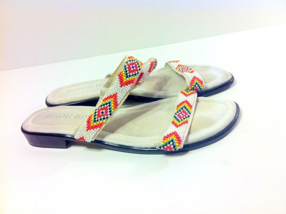 Southwestern Beaded Strappy Sandals 7.5