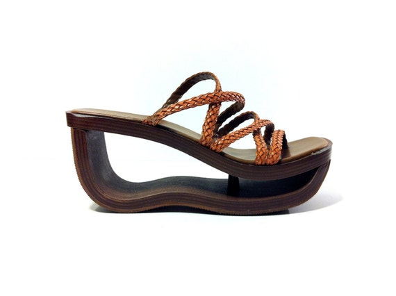 Braided Leather Cutout Platform Sandals 8 - Strappy Backless Sandals 8