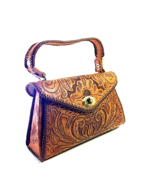 RESERVED FOR NADYA Chestnut Tooled Leather Bag- Southwestern Structured Handbag - Floral Fillagree