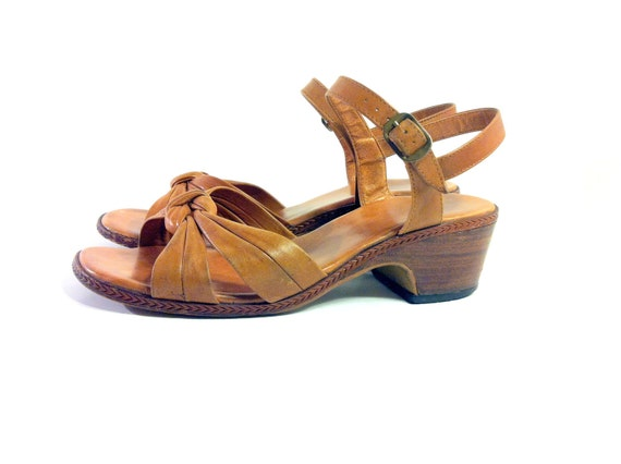 SALE Chestnut Leather Sandal Clogs 8 - Brown Wooden Heel Strappy Sandals with Buckle 8