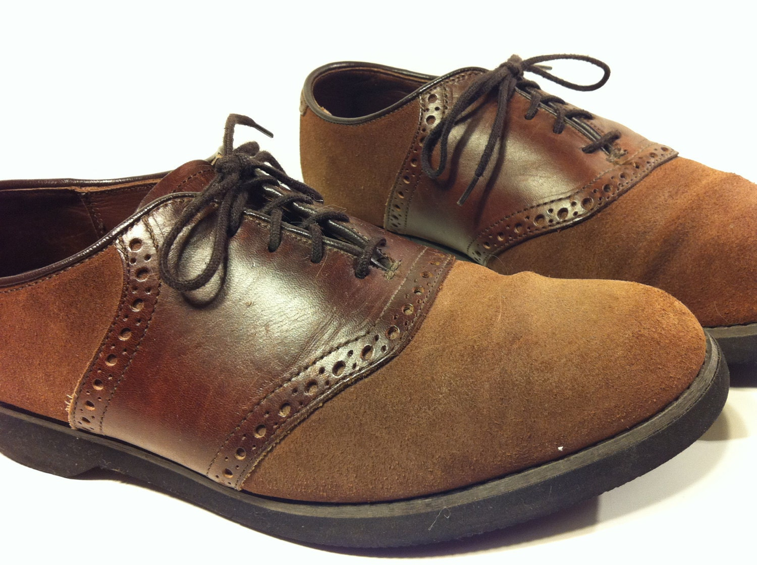 brown leather saddle oxford shoes 10 two toned brogue