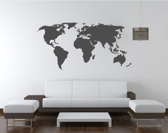 6 feet world map decal. Wall decal. Map wall decal