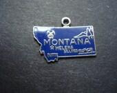 Classy Vintage Sterling Charm or Pendant  Signed Montana Blue Enamel Finish