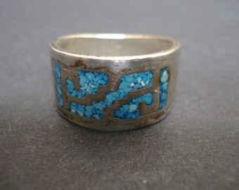 Nicest Silver Band Ring Turquoise Inlay Wide Vintage Ring