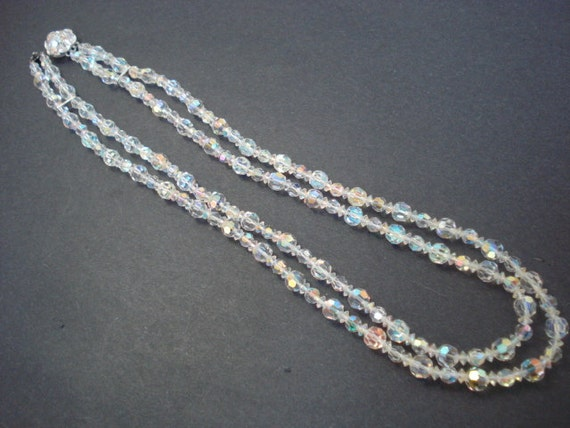 Classic Elegance SHERMAN CRYSTAL NECKLACE Signed Sherman Double Strand  Iridescent  Austrian Crystal