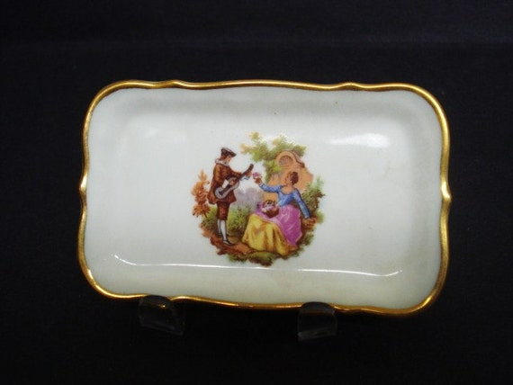 Spectacular Vintage Miniature Tray by Limoges France Courting Scene
