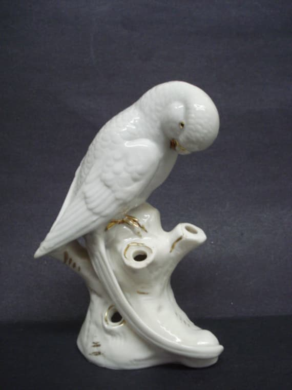 Most Beautiful Bird Vase, Antique Figural Vase White Parakeet Budgie Bird Great Detail Made in Germany