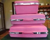 Vintage 1960s Samsonite Saturn Hot Pink Hard-Sided Luggage Set