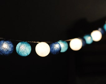 20 cotton ball string light in blue shaded lantern hanging light decoration patio night light indoor