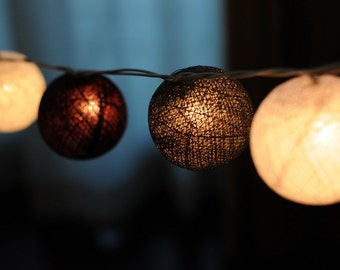 Grey classic color cotton ball party wedding string light patio strand hanging light