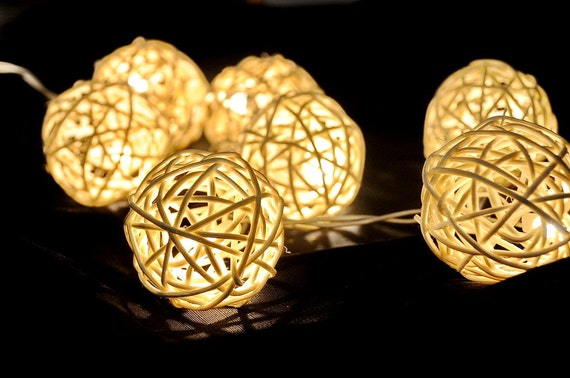 20 x white Rattan ball string light patio outdoor decoration deco room bedroom wedding patio party oriental asia