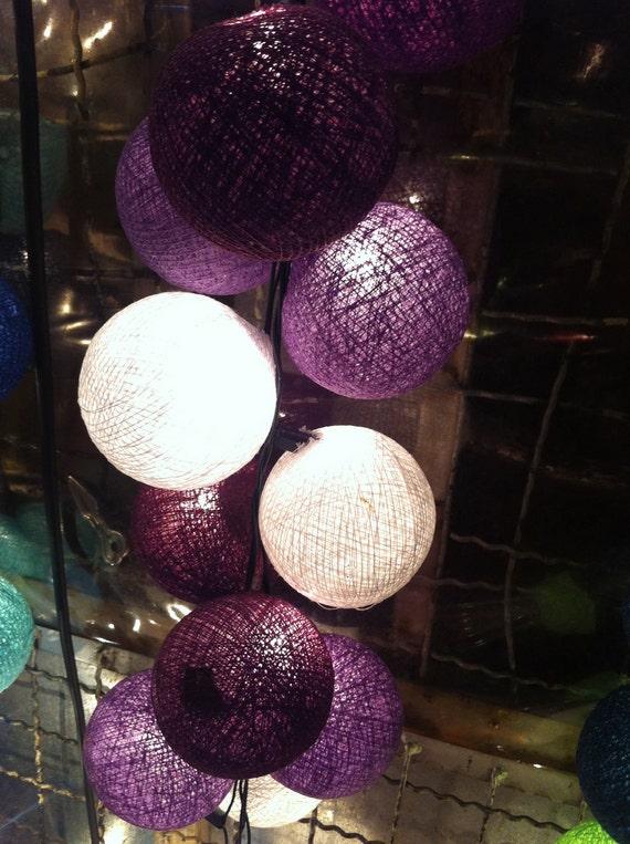 20xPurple tones color cotton ball Bali string by cottonlight
