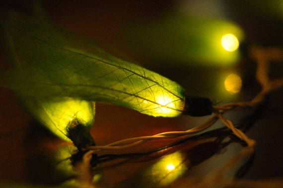 20 Lime green flower handmade real leaf string by cottonlight