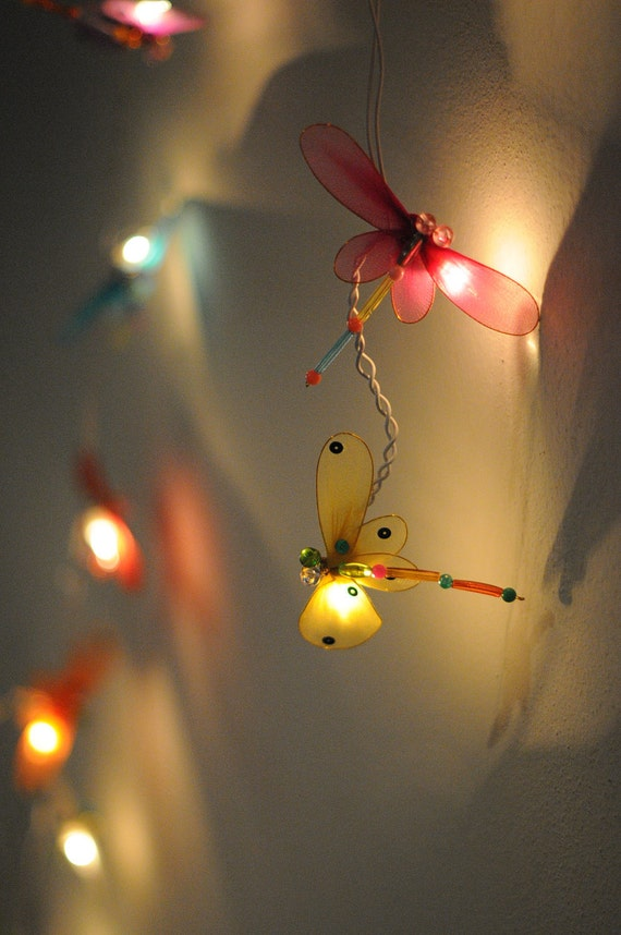 20 x dragonfly string light handmade decoration by cottonlight for Handmade things for room