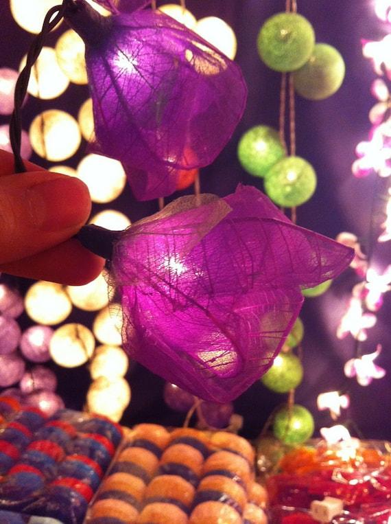 20  purple handmade real leaf Rose flower leaf string light patio decoration wedding bedroom living room party lantern