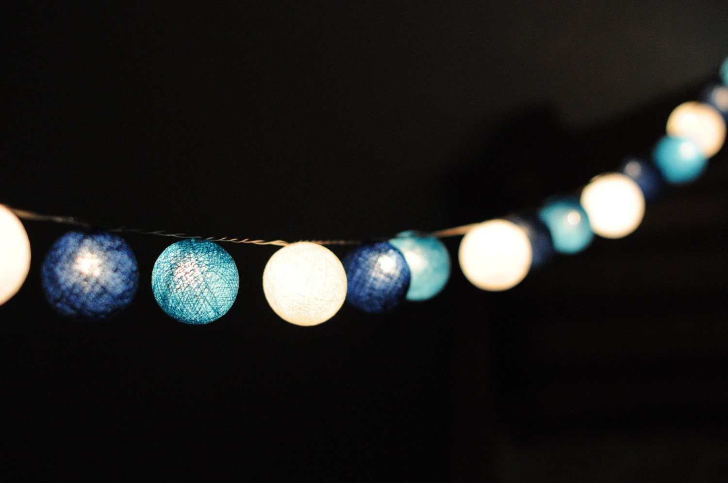 String Of Lantern Lights : 20 cotton ball string light in blue shaded lantern by cottonlight