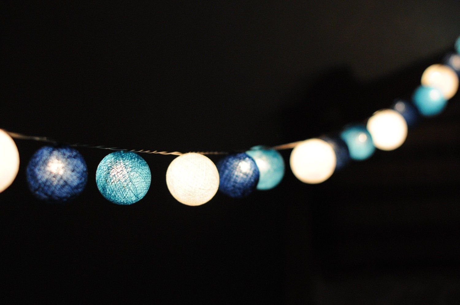 20 cotton ball string light in blue shaded lantern by cottonlight