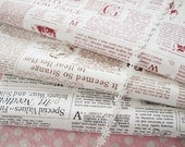 Newspaper Fabric, Linen fabric, Linen Cotton Fabric, Antique Looking, French Style Fabric - 3 Color Available Brown Black Red 1/2 yard