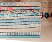 Blue Bundle Blue Linen Cotton Fabric Bundle- Blue Fabric Fat Quarter Bundle, 10 Fat Quarters Pieces