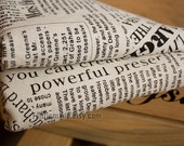Vintage Newspaper Fabric, Linen fabric, Linen Cotton Fabric, Antique Looking, French Style Fabric - Two Color Available Brown Black 1/2 yard
