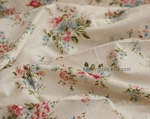 "Floral Fabric/ Ivory Beige Fabric with Peony flower/ Linen Cotton Curtain Cushion Fabric- 1/2 yard 18""X55"""