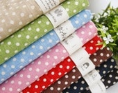 Japanese  Basic Dots Fabric, Polka Dots Linen Cotton Fabric, Pink Red Beige Green Blue Brown Black Navy with White Dots Fabric - 1/2 Yard