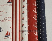 Marine Navy Fabric Oceangoing Voyage Sailing Linen Fabric Red Stripe Black Dots Navy Anchor Boat  Ocean Style- 1/2 yard