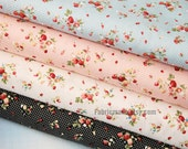 "Strawberry Fabric Cotton Fabric Shabby chic Fabric Red Strawberry In Blue Pink White Black Cotton - 1/2 yard 18""X59"""