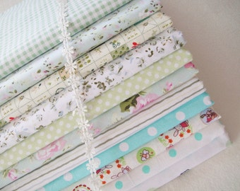 Sale- Spring Green Bundle Fabric Spring Fabric Light Green Fabric Green Cotton - Sets for 11 each 40cmX60cm