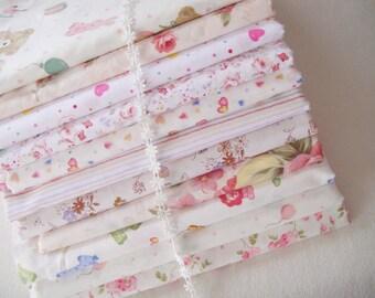 Fat Quarter Bundle/ Beige Bundle Fabric/ Beige Fabric/ Beige Cotton Fabric/ Beige Cream Girl's Fabric Bundle - Sets for 11 each 40cmX60cm