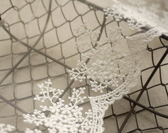 Two Yards- White Embroidery Lace Trim Tulle Lace Trim for Jewlery Supplies, Bridal Supplies width 11cm 4 inches Lace by yard