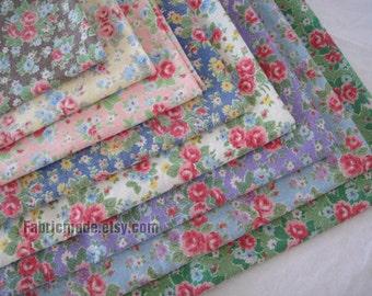 Floral Linen Fabric with Vintage Rose/ Shabby Chic/ Flower Fabric/  Wahsed Linen Cotton- Fat Quarter Bundle, 6 Fat Quarters