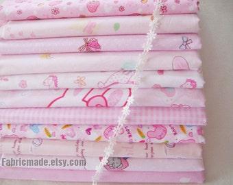 "BUNDLE SALE- Girl's Cartoon Pink Fabric Bundle 10 Pieces Fat Quarter Fabric Bundle each 16""X24"""